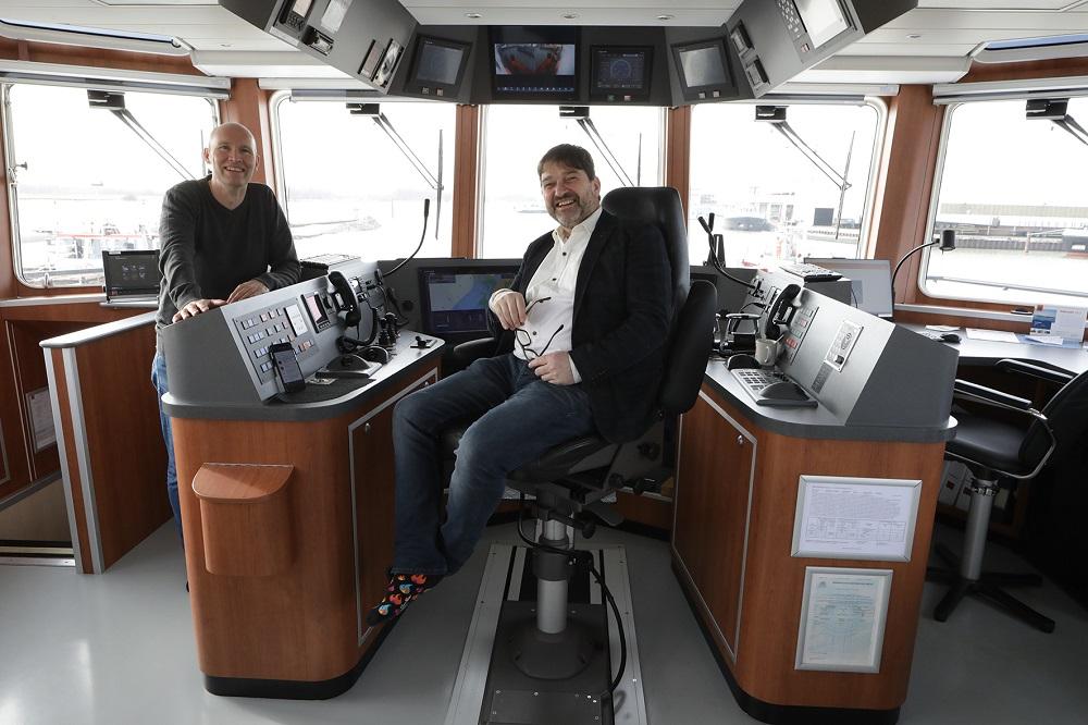 Gert-Jan Huisink en Peter de Smet aan boord